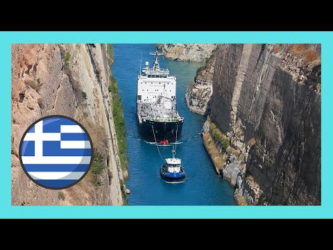 A ship passing through the Corinth Canal