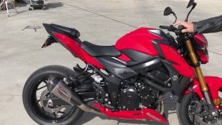 2018 Suzuki GSX S750 Stock vs. Yoshimura Alpha T slip-on and drive by