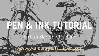 Urban Sketching Tutorial  - Pen & Ink Bike Sketch (HD)