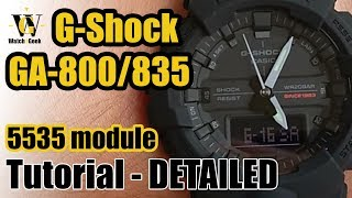 G-Shock GA-800/835 - module 5535 - tutorial on how to setup and use all the functions