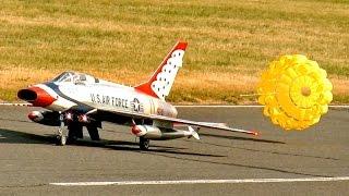 F-100 SUPER SABRE HUGE RC SCALE MODEL TURBINE JET FLIGHT DEMO / Jetpower Fair 2016