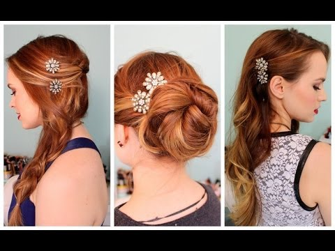 3 Quick Hairstyles For Sparkly Hair Accessories Youtube