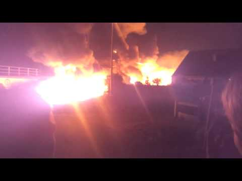 Chemical train disaster Wetteren, Belgium 04 may 2013 - Initial fire and expansion