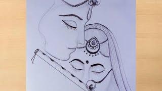 lord Radha Krishna artistica Pencil drawinglord Krishna art