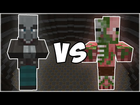 Vindicator vs Zombie Pigman - Minecraft Mob Battle