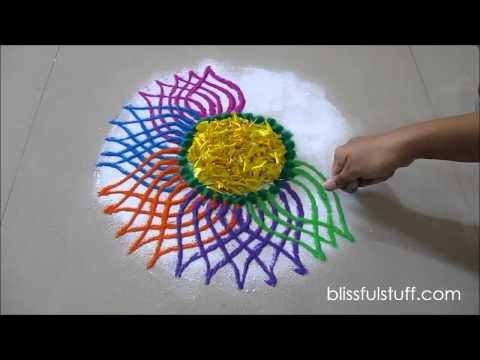 Diwali special rangoli design   Multicolored flower rangoli