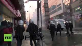 Turkey, Water cannons and teargas in Istanbul on day of teenager's funeral  3/12/14