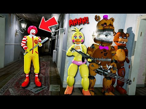 Can The Animatronics Hide from Ronald Mcdonald Clown? (GTA 5 Mods For Kids FNAF RedHatter)