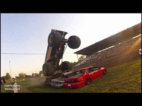 Monster Truck 120 FPS Jumps and Smash Car