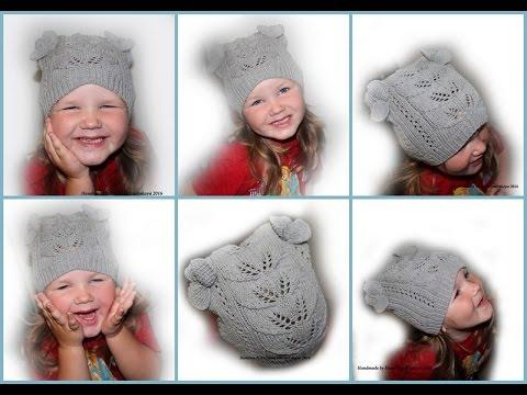 Вяжем спицами шапочку для девочки с ушками 191