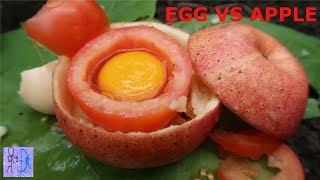 Nướng Trứng Gà Rừng Trong Trái Cà Chua Vs Táo Và Cái Kết Bất Ngờ .Egg VS Tomato, Apple .Sinh Tồn