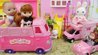 Baby doll and Hello kitty friends picnic bus play sand play