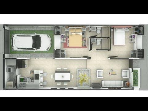 Casa de un piso 83m², interiores, minimalista, 7m x 15m