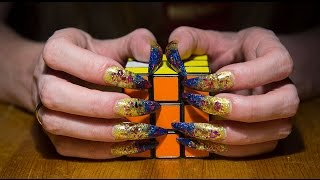 Long Nails ASMR triggers tingle solving Rubik's cube