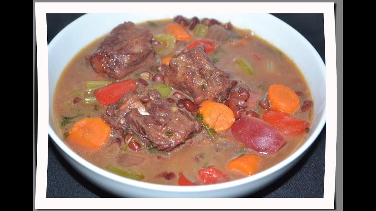 Sopa de frijoles con cola de vaca y vegetales youtube - Guiso de carne de cerdo ...