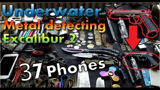 One Place - 37 Phones, silver, gold, gun ;) & much more Underwater metal detecting with Excalibur 2