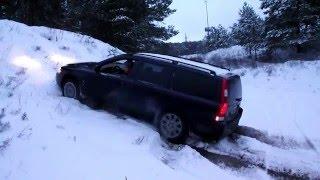 Volvo V70 D5 AWD test on snow HALDEX work