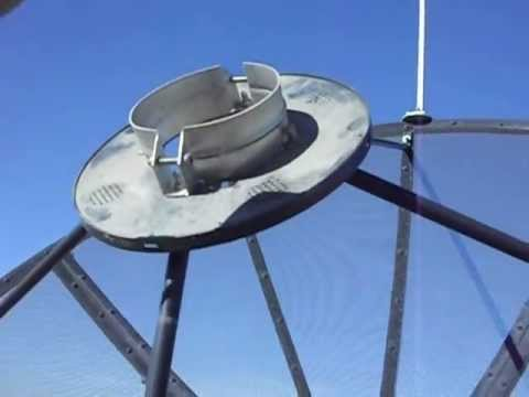 Removing the feed horn from a 2 metre Sami satellite dish antenna