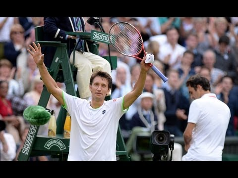 Sergiy Stakhovsky talks to the media after his fantastic second round victory over Roger Federer at Wimbledon 2013. More great content at http://www.wimbledo...