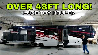LARGEST I'VE REVIEWED! 48.5ft long LUXE Toy Hauler! Check this out!