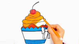 Colorful Cupcake, funny drawings for kids and toddlers