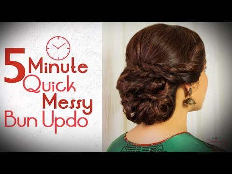 5 Minute Easy Messy Hair Bun Tutorial | Step by Step Party Hairstyle Tutorial | Chandni Singh