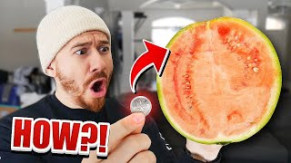 How To Cut A Watermelon IN HALF With a Coin!! *TOP 5 BAR TRICK BETS YOU WILL ALWAYS WIN* IMPOSSIBLE