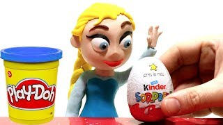 Princess Elsa unboxing a kinder surprise egg. Clay Stop motion video, funny for kids
