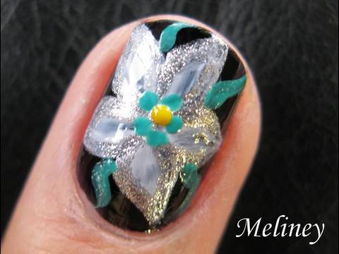 flower nail art tutorial  space lily silver white floral