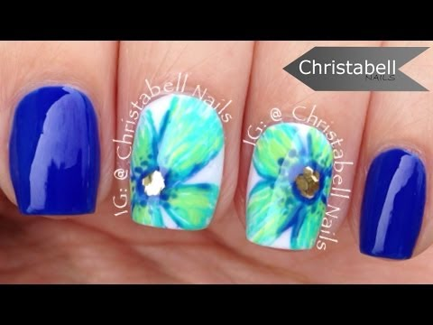 Christabell Floral Nail Art Tutorial (peacock colors)
