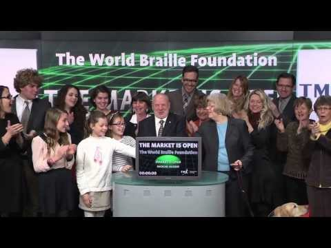 The World Braille Foundation opens Toronto Stock Exchange, January 3, 2014.