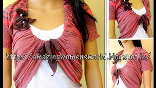 SHRUG  - DIY ( RECYCLE/REUSE OLD FABRICS) CREATE IT INTO  GARMENTS