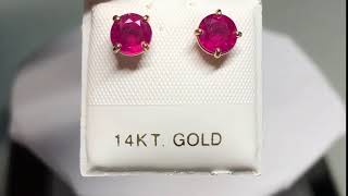 136. 14KT Gold Ruby Earrings