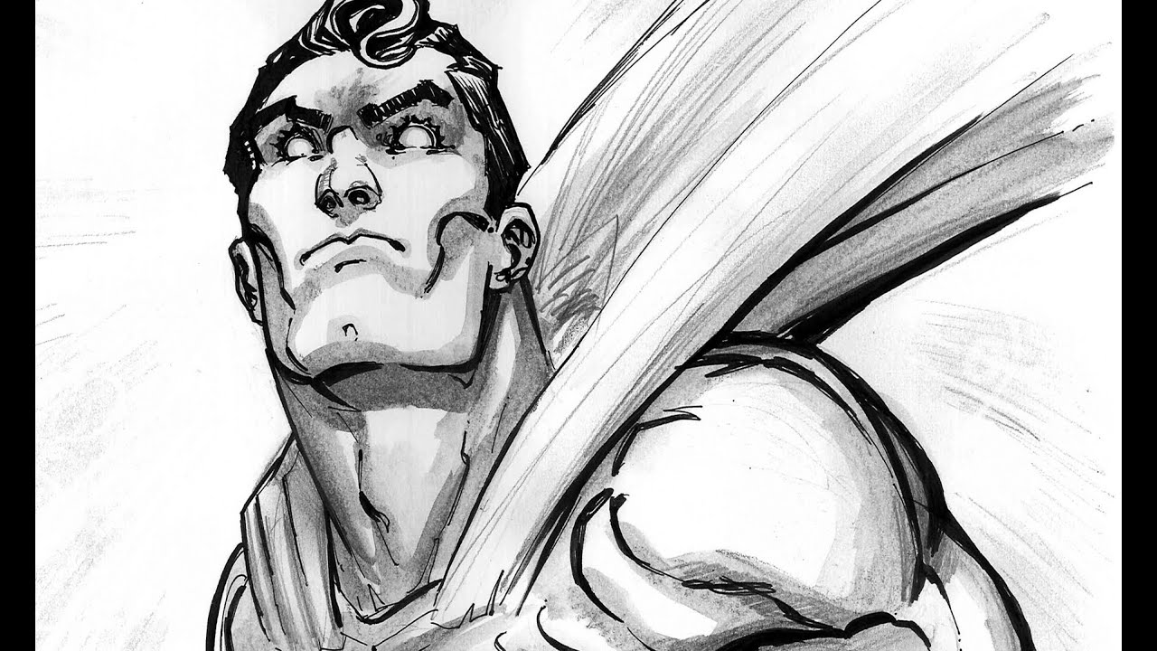 Superman Ink Drawing Drawing Inking Man of Steel