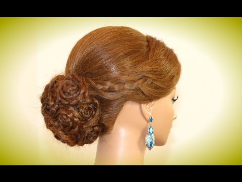 Wedding Hairstyles For Long Hair. Bridal Prom Updo. Rose Bun. video