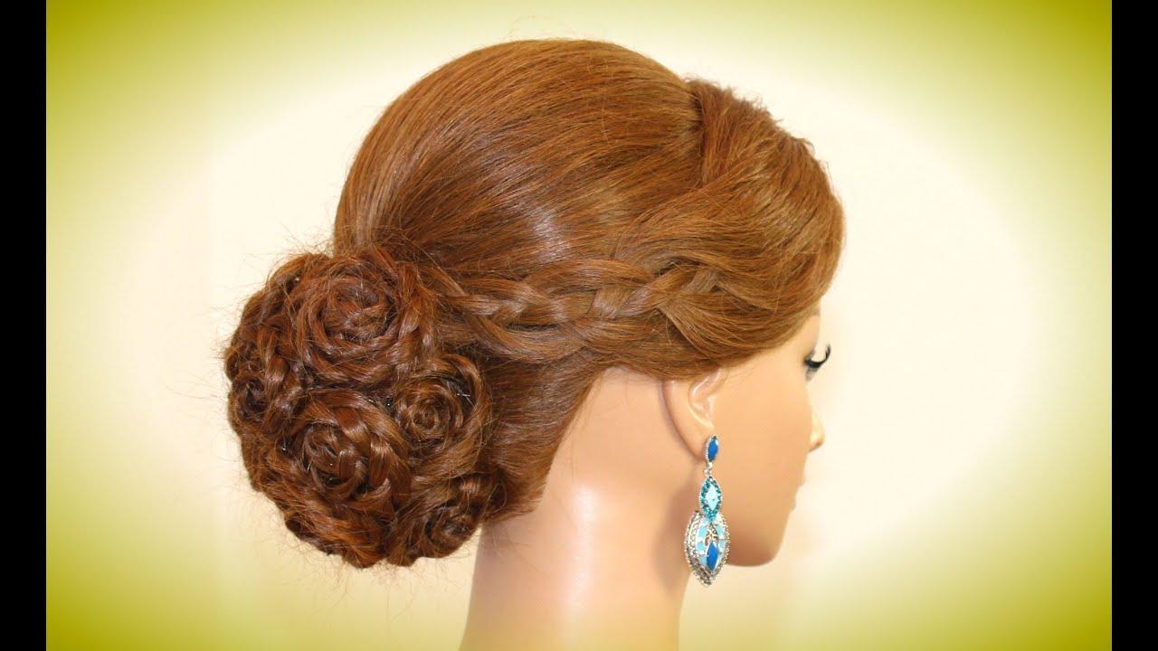 Прическа с валиком для волос на свадьбу