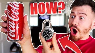 IMPOSSIBLE TRICK - How To Open Any Lock With a Coke Can! *TOP 5 BAR TRICK BETS YOU WILL ALWAYS WIN*
