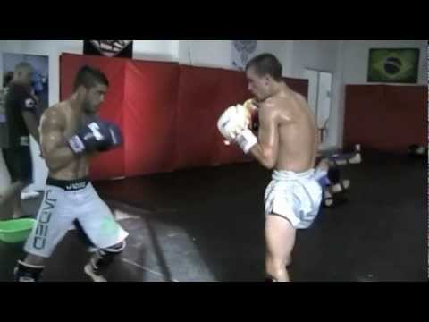 Muay Thai World Champion now MMA fighter Irshaad Sayed MMA Sparring with Thai Fighter Joe Rippingle Image 1