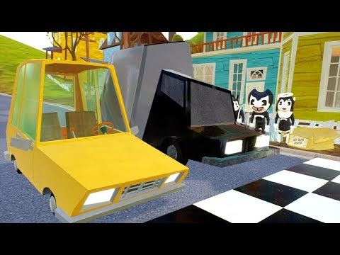 PLAYER CAR VS BENDY CAR RACES - Hello Neighbor