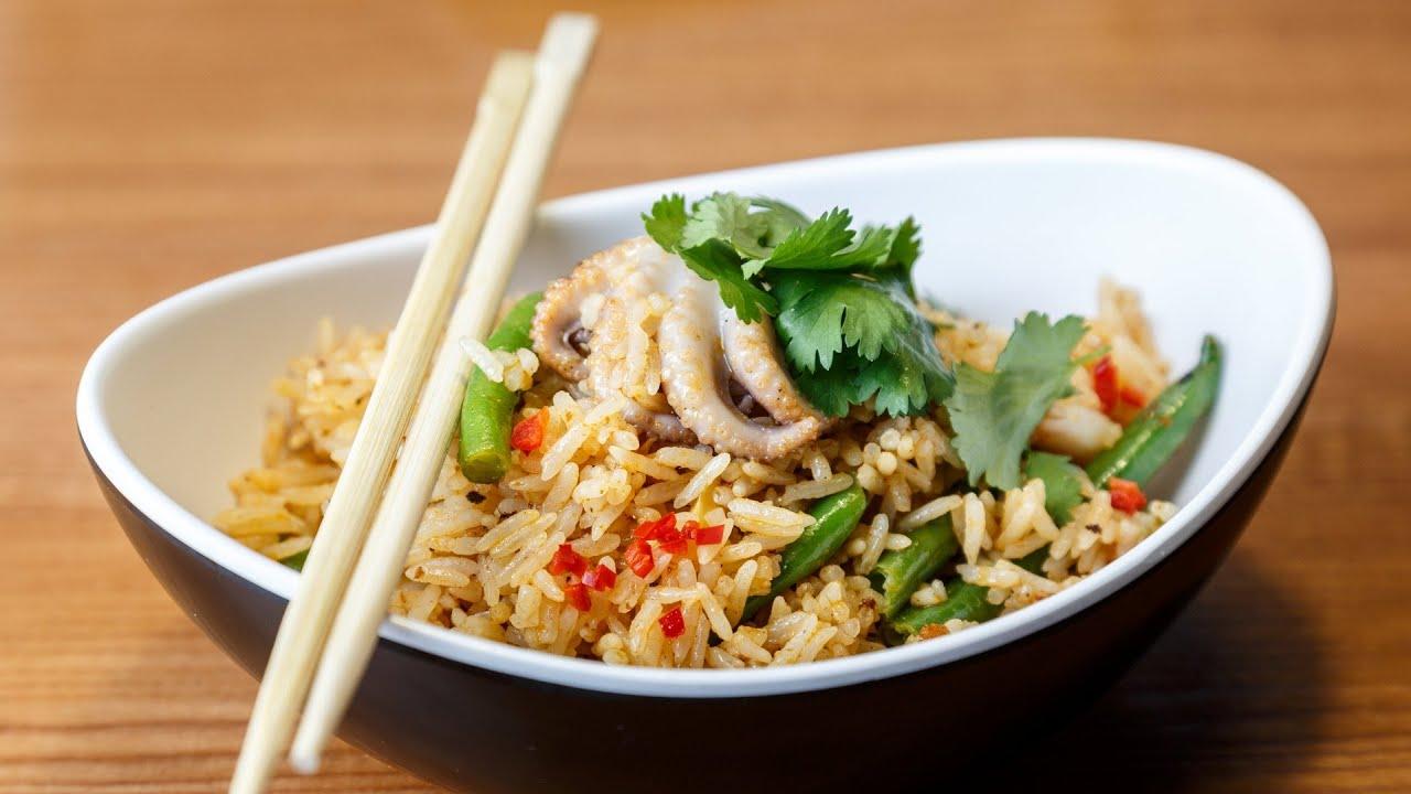 Жаренный рис с морепродуктами рецепт