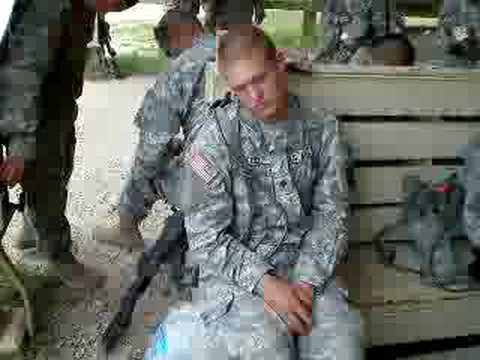 Waking up -Army soldier