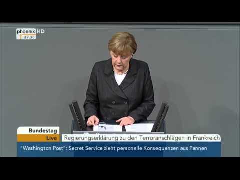 Bundestag: Regierungserklärung von Angela Merkel zu den Terroranschlägen in Frankreich am 15.01.2015