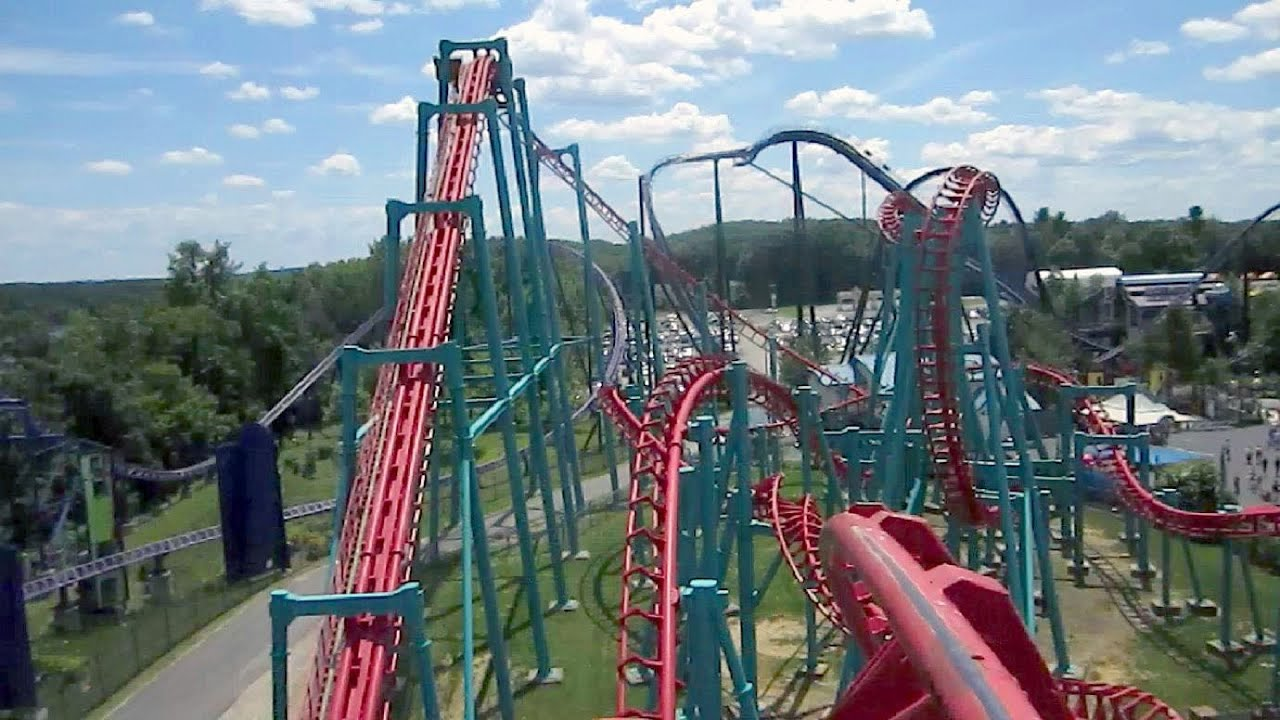 mind eraser front seat on ride hd pov six flags new england youtube. Black Bedroom Furniture Sets. Home Design Ideas