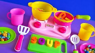 Toy kitchen soup cooking alphabet letters noodles spelling words multicolor spaghetti toy for kids