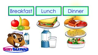 """Breakfast, Lunch, Dinner"" (Level 2 English Lesson 16) CLIP - Kids Food, English Words, Meals"