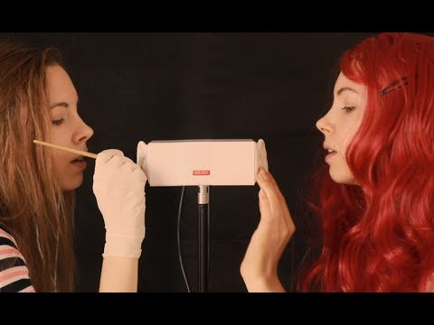 Twin Girl Ear Cleaning - ASMR - Brunette & Redhead