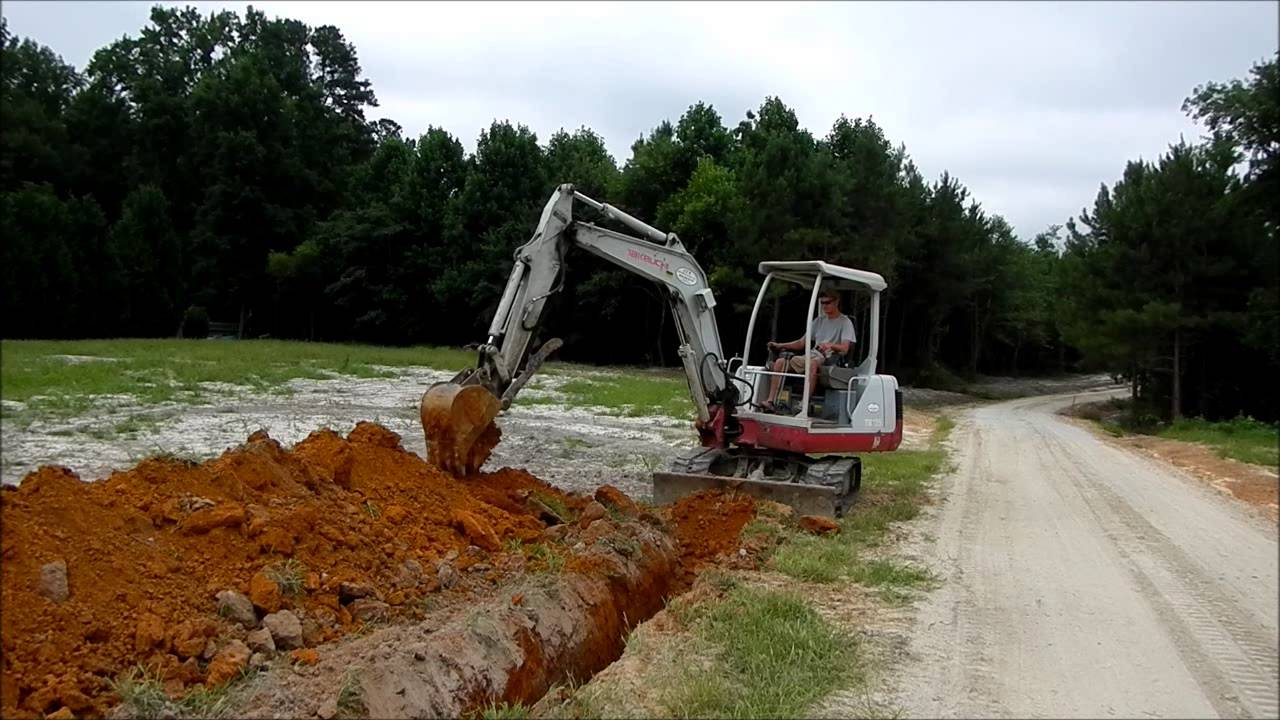 Trenching With The Mini Excavator Youtube