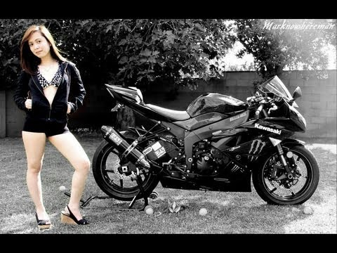 Kawasaki NINJA ZX6R Monser Energy + A Cute Filipina (Asian) Teen Girl