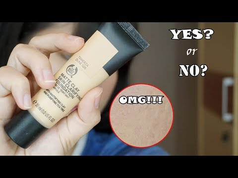 Review & Test Oil Control The Body Shop Clay Matte Clarifying Foundation #Tamerza Dune - YouTube