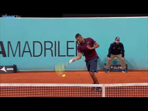 Nick Kyrgios hotdog / tweener lob winner over Nishikori - 2016 Mutua Madrid Open